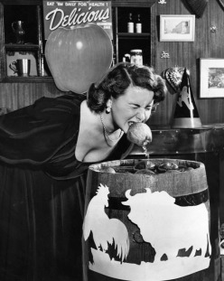 1949, bobbing for apples Halloween at the Cock and Bull