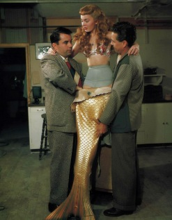 ann blyth 1948 (with bud westmore, makeup artist) - mr peabody and the mermaid - by don ornitz