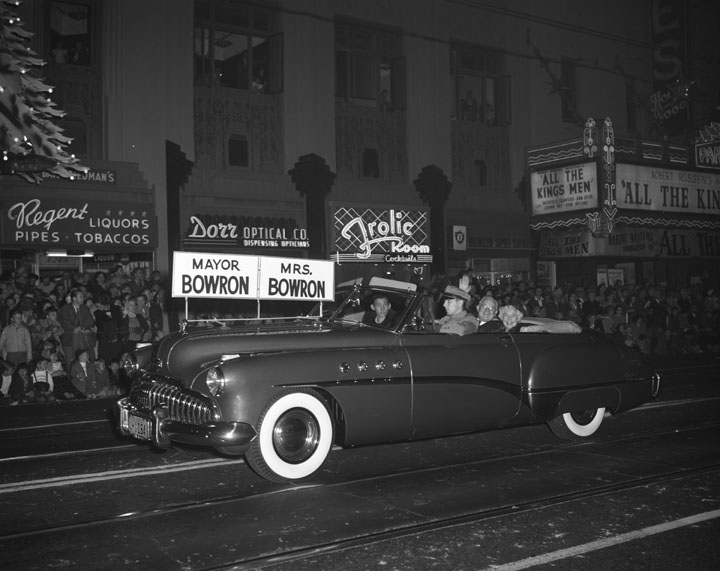 1948 Christmas Parade, past the Pantages Theater and the Frolic Room