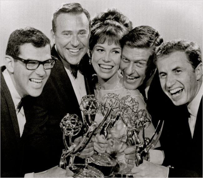 """Emmy night in May 1966, a banner evening for """"The Dick Van Dyke Show."""" From left, the writer Bill Persky; the show's creator, Carl Reiner; its stars Mary Tyler Moore and Dick Van Dyke; and Sam Denoff."""