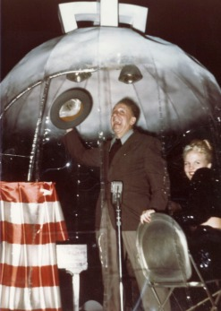Jimmy Durante and Peggy Lee in the Hollywood Christmas Parade