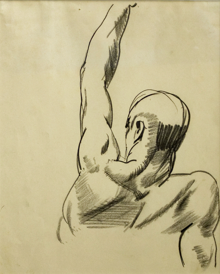 1923-24c+Study+for+Dempsey+and+Firpo,+Head+and+Shoulders+of+Dempsey+crayon+on+paper