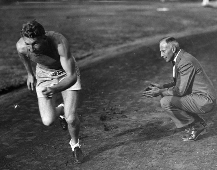 1929 Charley Paddock with USC coach Dean Cromwell