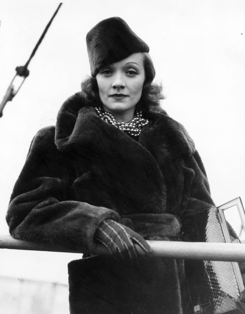 Marlene Dietrich in Mouton Coat and Cap
