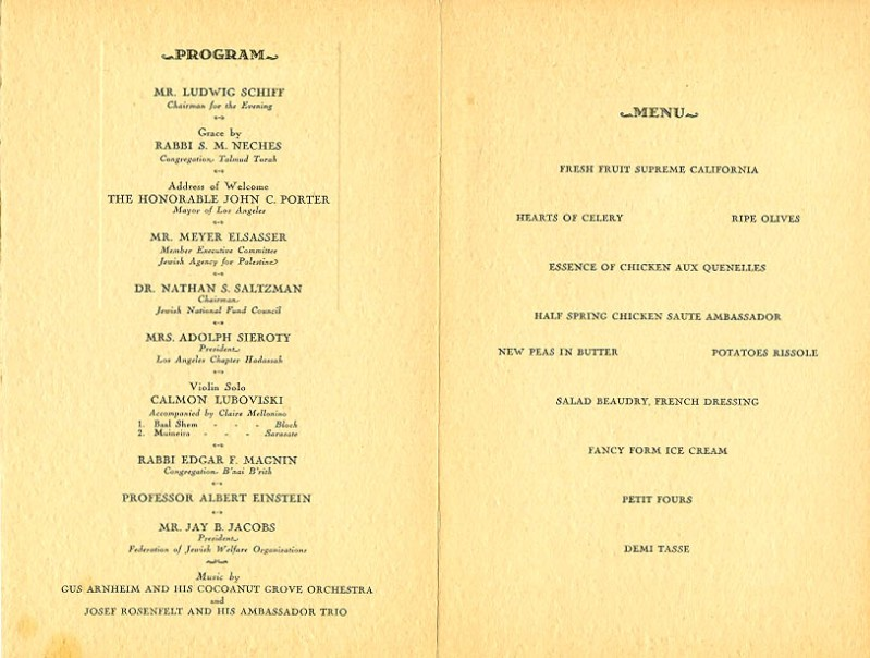 banquet menu for Einstein