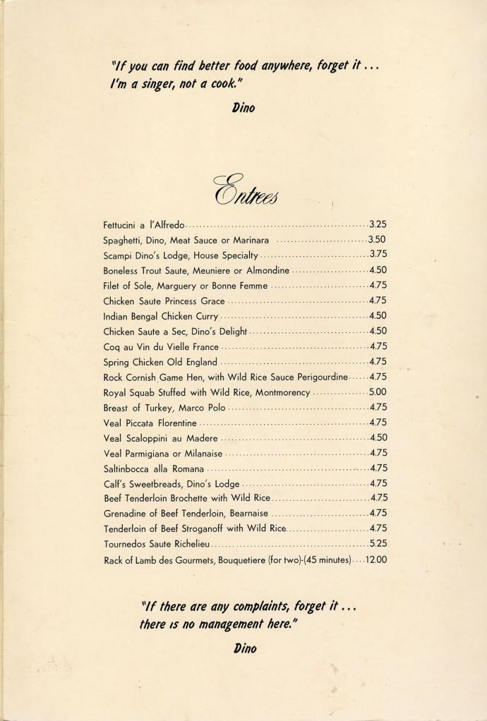 dino's menu