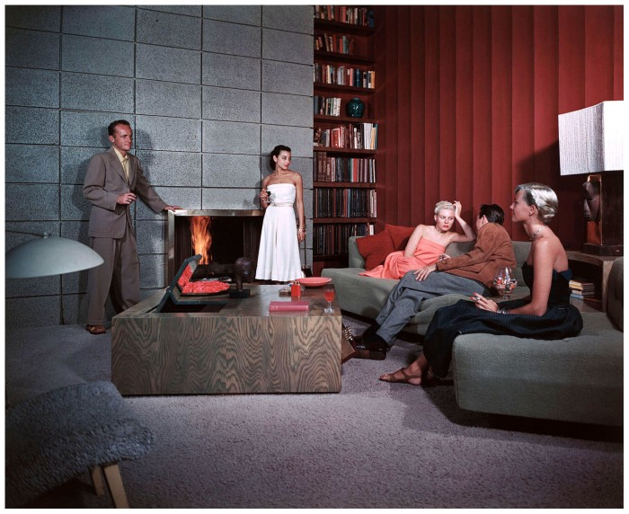 1950-cocktail-hour-at-the-spencer-residence-in-santa-monica-note-the-mirror-view-television-sunken-into-the-table-architect-richard-spencer-color-transparency-by-julius-shulman