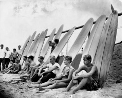 1961 beached surfers malibu