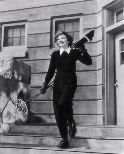 claudette colbert with skis
