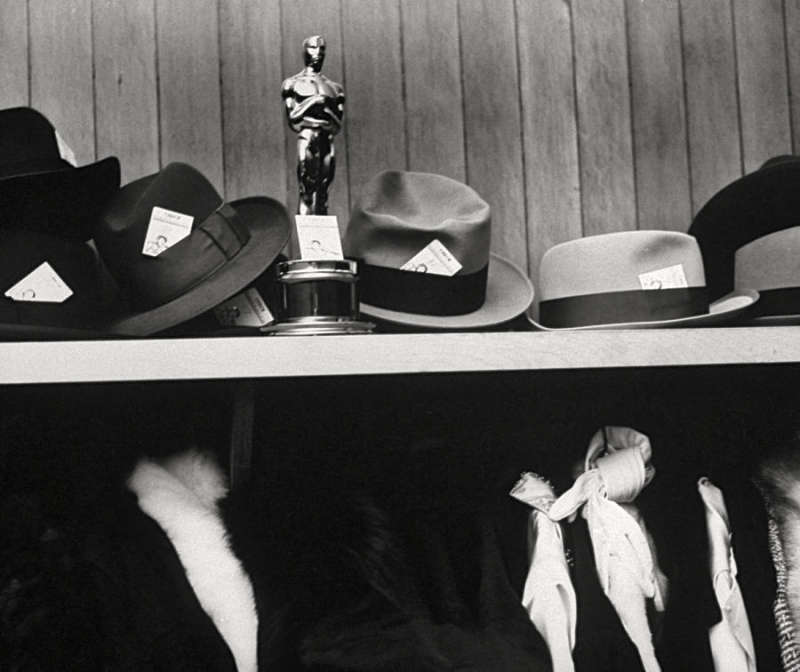 Buddy Adler's Academy Award for From Here to Eternity in the hat check room at Romanoff's, LIFE