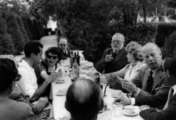 Ava Gardner, Luis Miguel Dominguín, Ernest Hemingway, Mary Rupert Bellville and others at a luncheon at Costa del Sol, Andalusia, Spain