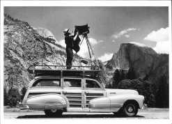 www.anseladams.org, ANSEL ADAMS PHOTOGRAPHING IN YOSEMITE VALLEY (ON A WOODY STATION WAGON)