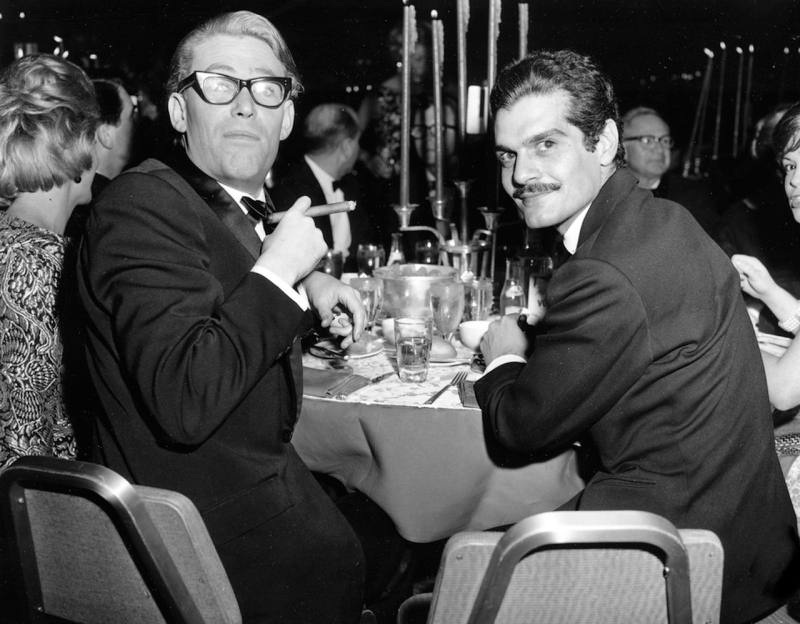 Peter O'Toole and Omar Sharif...looks like an awards dinner for Lawrence of Arabia