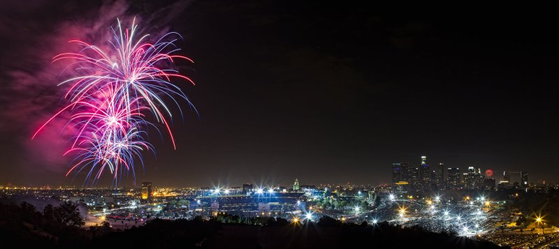 A brilliant display of fireworks over Dodger Stadium. Photo credit photo credit: Will Hastings