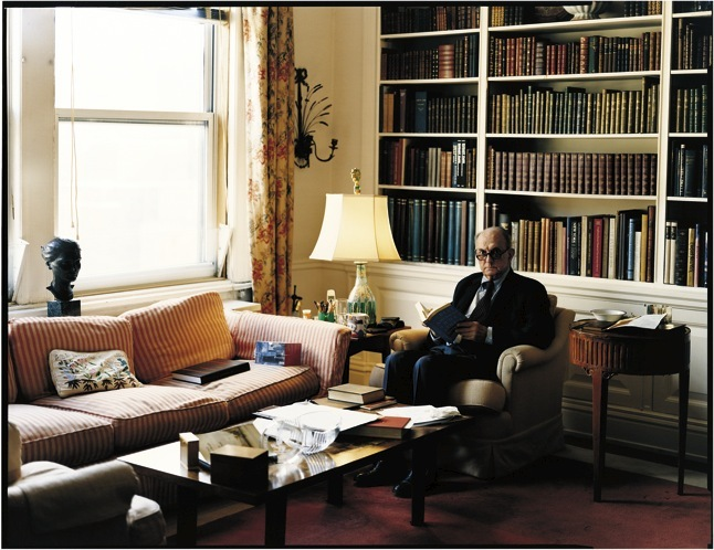 "Auchincloss in his Park Avenue home. He always felt that a secure life was his destiny—hehad, he says, ""a curious sense of immunity, that nothing would happen to me. And nothing ever did."" Photograph by Tina Barney."
