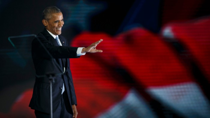 President Obama arrives at the Democratic National Convention. (Marcus Yam / Los Angeles Times)
